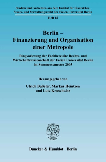Cover: Berlin – Finanzierung und Organisation einer Metropole