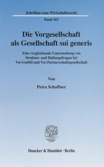 Cover: Die Vorgesellschaft als Gesellschaft sui generis