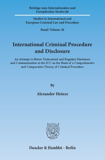 Cover: International Criminal Procedure and Disclosure