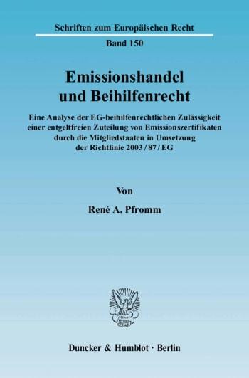 Cover: Emissionshandel und Beihilfenrecht