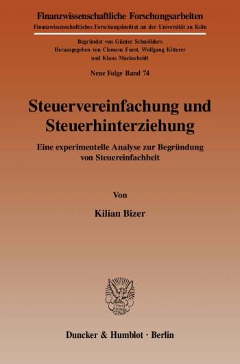 Cover: Steuervereinfachung und Steuerhinterziehung