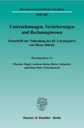 Cover: Unternehmungen, Versicherungen und Rechnungswesen