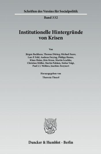 Cover: Institutionelle Hintergründe von Krisen