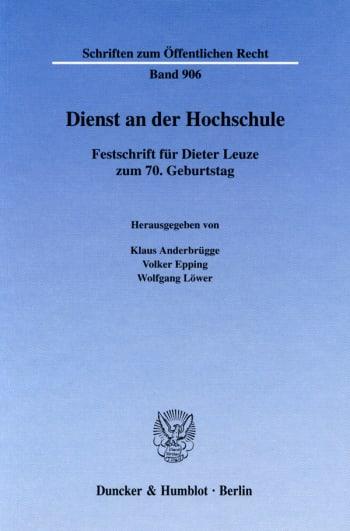 Cover: Dienst an der Hochschule