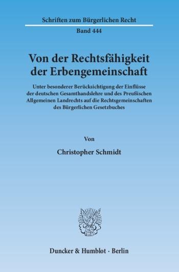 Cover: Von der Rechtsfähigkeit der Erbengemeinschaft