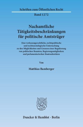 Cover: Nachamtliche Tätigkeitsbeschränkungen für politische Amtsträger