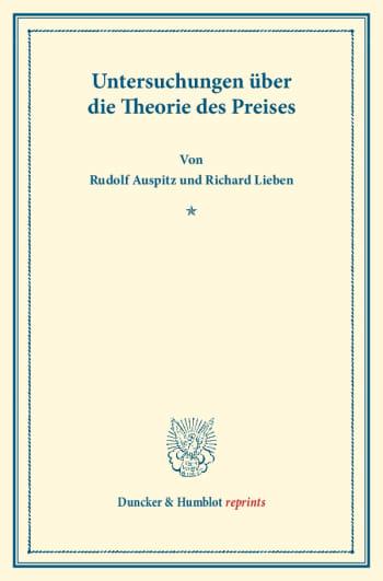 Cover: Untersuchungen über die Theorie des Preises