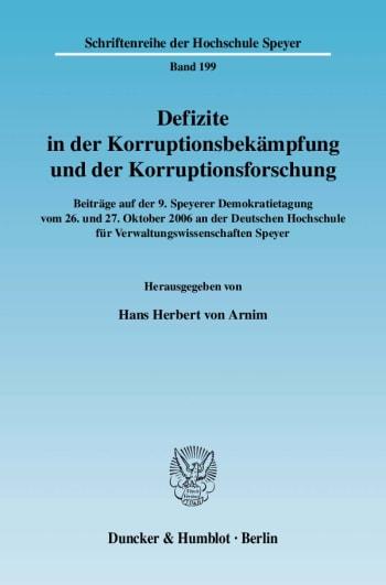 Cover: Defizite in der Korruptionsbekämpfung und der Korruptionsforschung