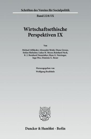 Cover: Wirtschaftsethische Perspektiven IX