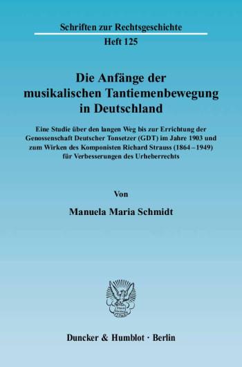 Cover: Die Anfänge der musikalischen Tantiemenbewegung in Deutschland