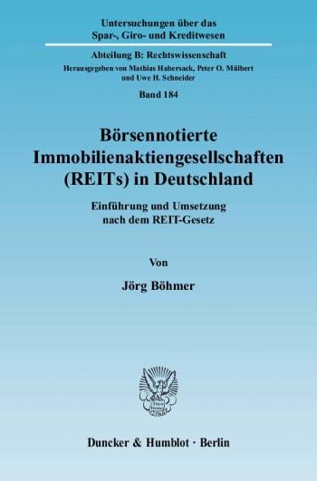 Cover: Börsennotierte Immobilienaktiengesellschaften (REITs) in Deutschland