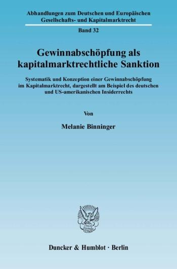 Cover: Gewinnabschöpfung als kapitalmarktrechtliche Sanktion