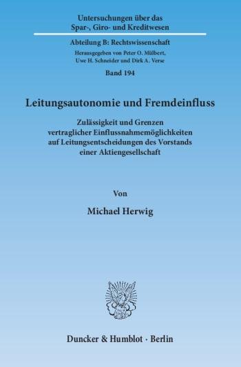 Cover: Leitungsautonomie und Fremdeinfluss