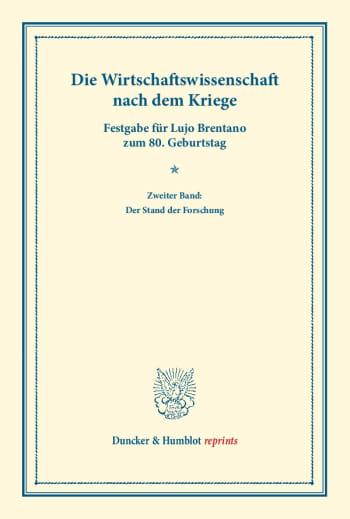 Cover: Die Wirtschaftswissenschaft nach dem Kriege
