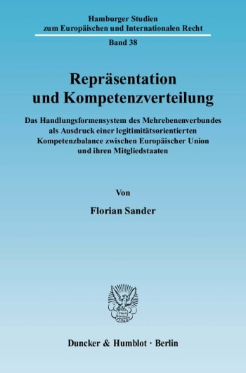 Cover: Repräsentation und Kompetenzverteilung