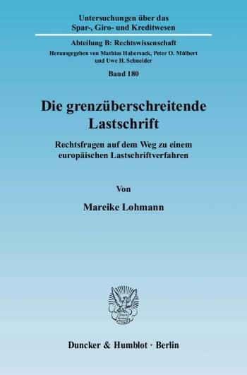 Cover: Die grenzüberschreitende Lastschrift