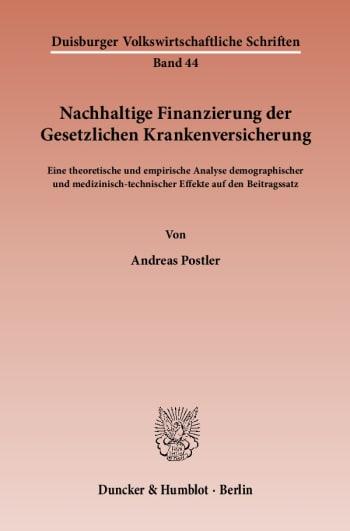 Cover: Nachhaltige Finanzierung der Gesetzlichen Krankenversicherung
