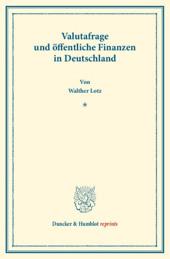 Cover: Valutafrage und öffentliche Finanzen in Deutschland