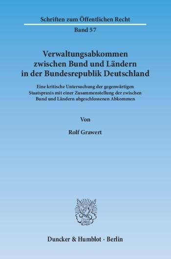 Cover: Verwaltungsabkommen zwischen Bund und Ländern in der Bundesrepublik Deutschland