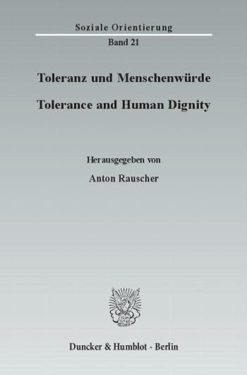Cover: Toleranz und Menschenwürde / Tolerance and Human Dignity