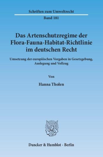 Cover: Das Artenschutzregime der Flora-Fauna-Habitat-Richtlinie im deutschen Recht
