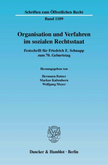 Cover: Organisation und Verfahren im sozialen Rechtsstaat