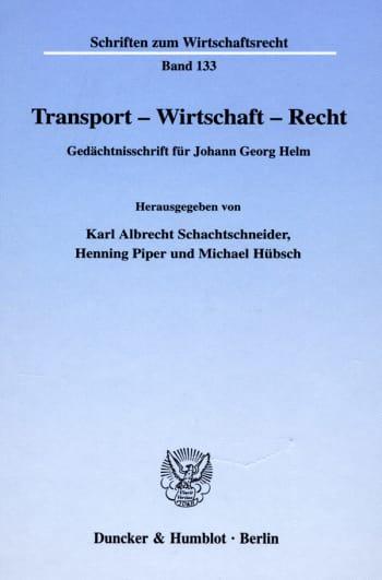 Cover: Transport - Wirtschaft - Recht