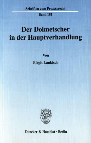 Cover: Der Dolmetscher in der Hauptverhandlung