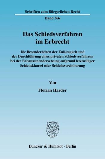 Cover: Das Schiedsverfahren im Erbrecht