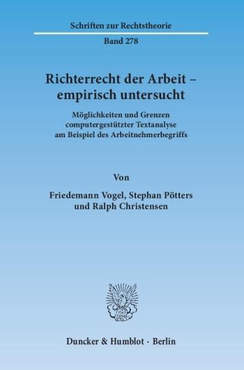 Cover: Richterrecht der Arbeit – empirisch untersucht