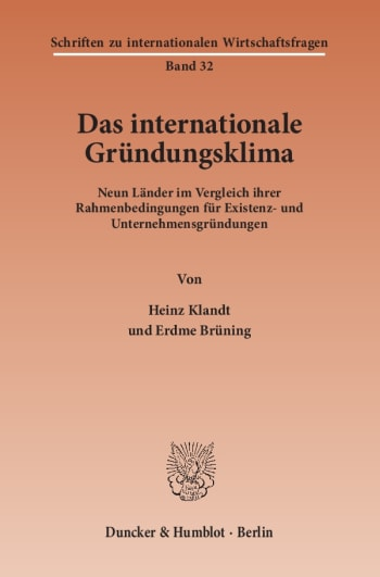 Cover: Das Internationale Gründungsklima