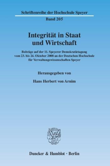 Cover: Integrität in Staat und Wirtschaft