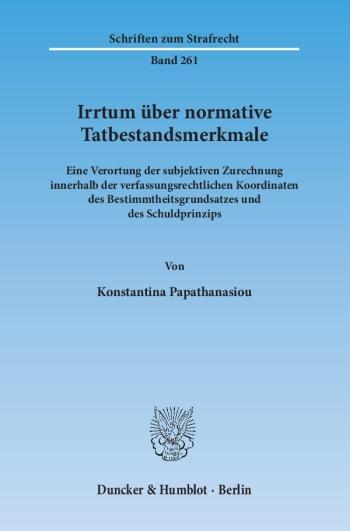 Cover: Irrtum über normative Tatbestandsmerkmale
