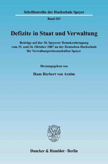 Cover: Defizite in Staat und Verwaltung