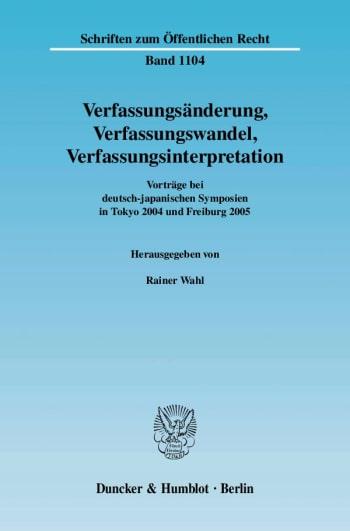 Cover: Verfassungsänderung, Verfassungswandel, Verfassungsinterpretation