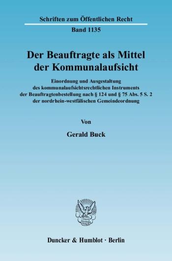 Cover: Der Beauftragte als Mittel der Kommunalaufsicht