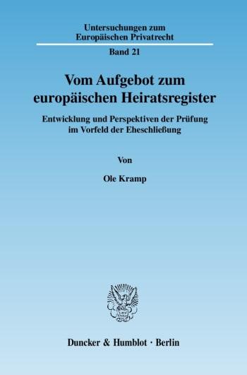 Cover: Vom Aufgebot zum europäischen Heiratsregister