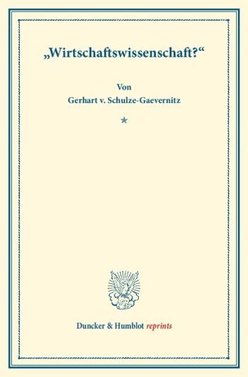 Cover: »Wirtschaftswissenschaft?«