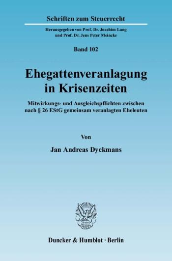 Cover: Ehegattenveranlagung in Krisenzeiten