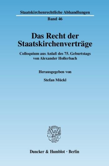 Cover: Das Recht der Staatskirchenverträge