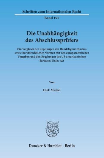 Cover: Die Unabhängigkeit des Abschlussprüfers