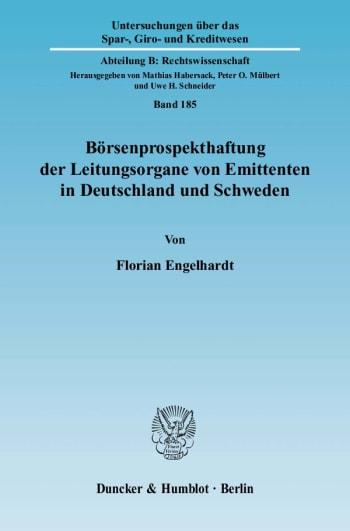 Cover: Börsenprospekthaftung der Leitungsorgane von Emittenten in Deutschland und Schweden