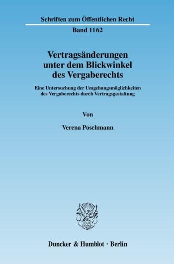 Cover: Vertragsänderungen unter dem Blickwinkel des Vergaberechts