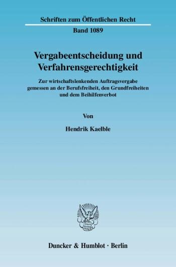 Cover: Vergabeentscheidung und Verfahrensgerechtigkeit