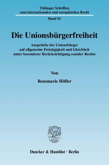 Cover: Die Unionsbürgerfreiheit
