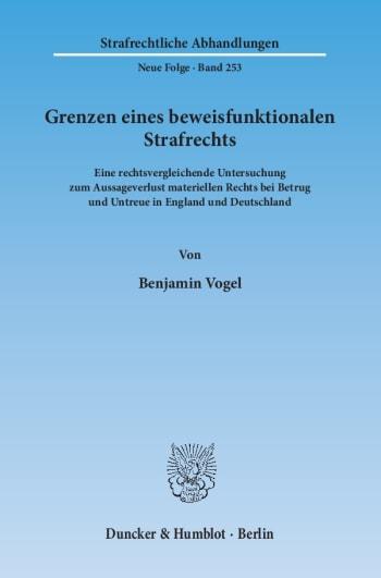 Cover: Grenzen eines beweisfunktionalen Strafrechts