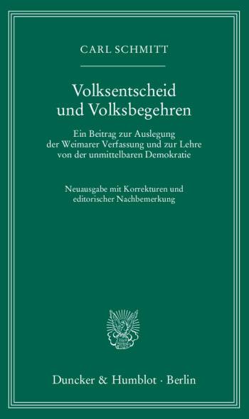 Cover: Volksentscheid und Volksbegehren