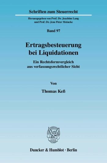 Cover: Ertragsbesteuerung bei Liquidationen