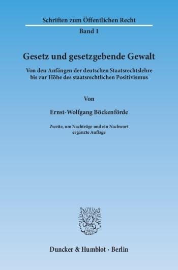 Cover: Gesetz und gesetzgebende Gewalt