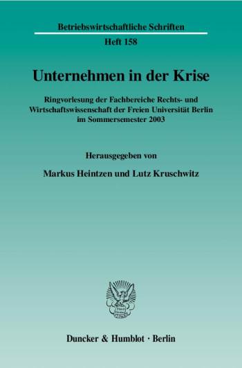 Cover: Unternehmen in der Krise